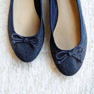 INC Blue Gem Sparkle Bow Ballet Flats Pamila 9